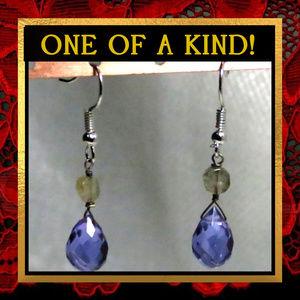 Purple Quartz & Labradorite Stone Earrings #227